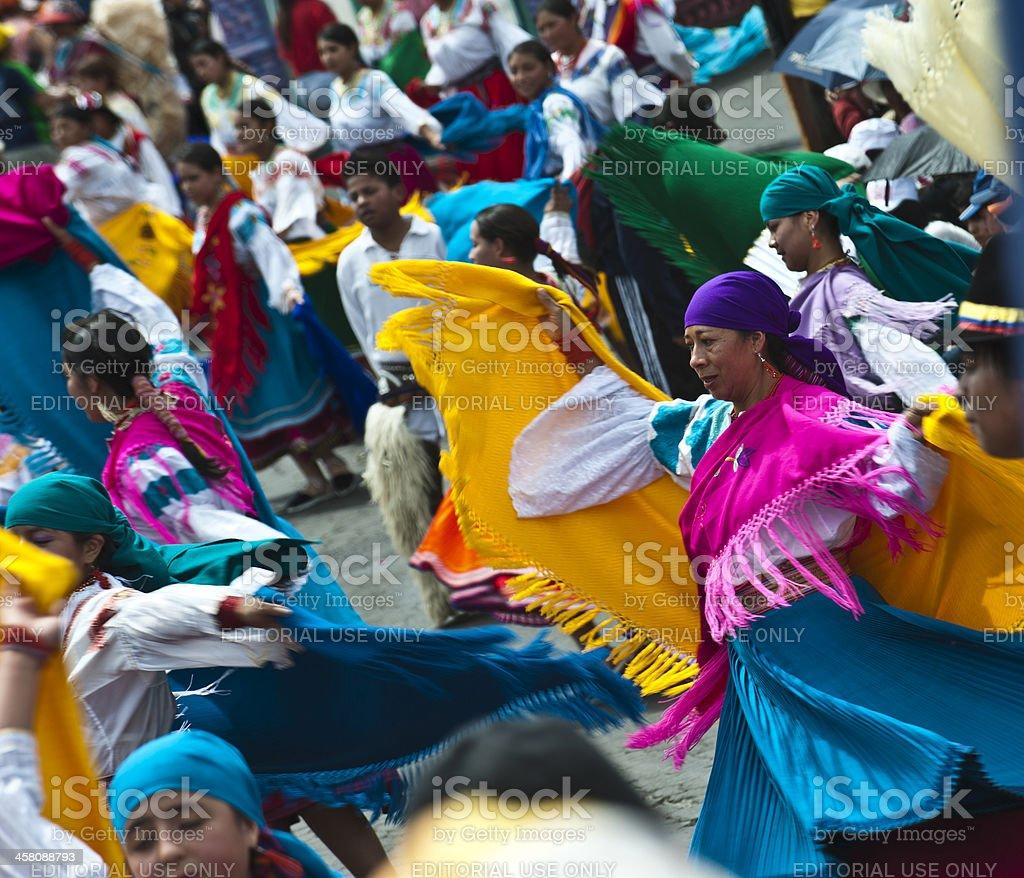 Dancers at a parade, Quito's Day, Ecuador stock photo