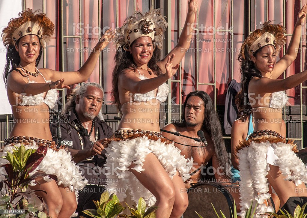 Dancers at Easter Island Chile stock photo