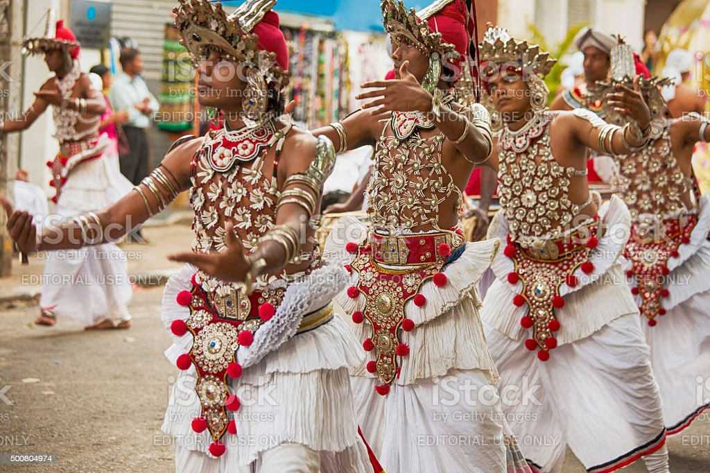 Dancers at full moon festival in Kandy Srilanka stock photo