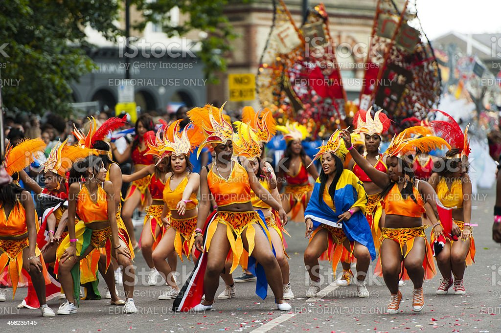 Dancers at Notting Hill Carnival stock photo