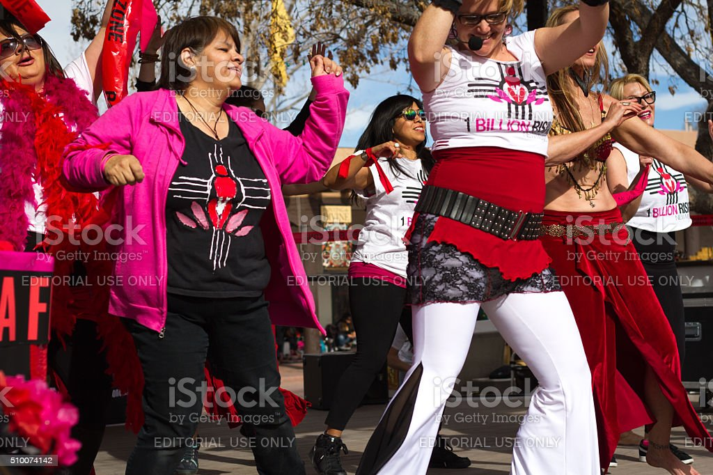 Dancers at 'One Billion Rising' Rally in Santa Fe, NM stock photo