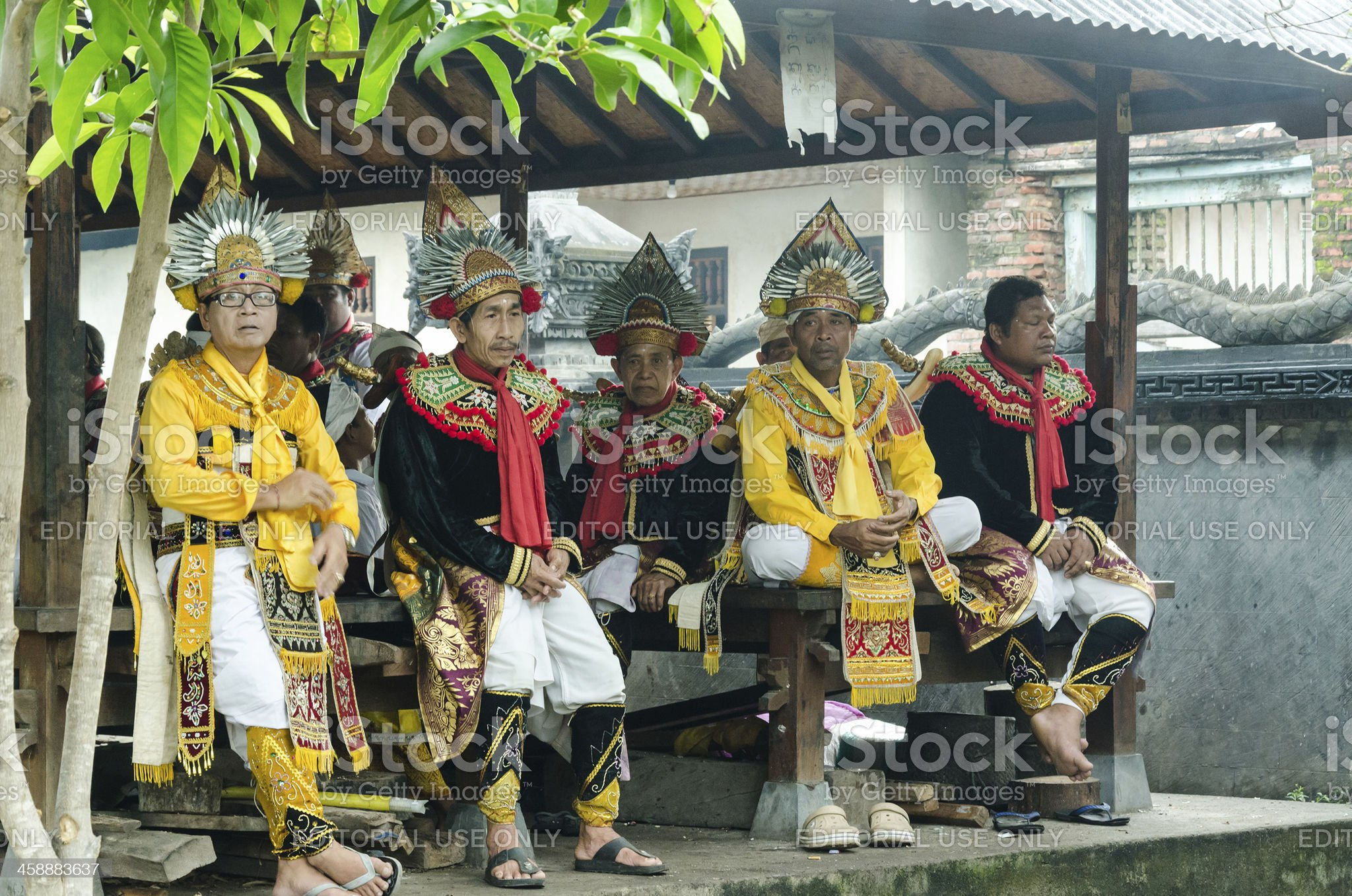 Dancers at temple ceremony in Bali - Indonesia royalty-free stock photo