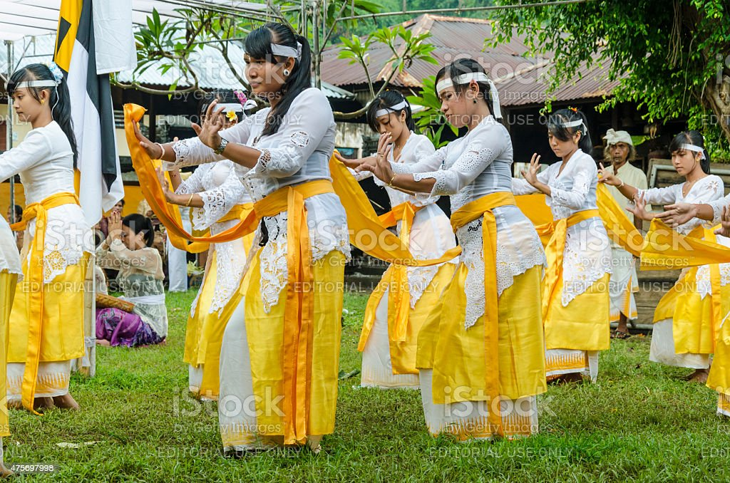 Dancers at temple ceremony in Bali - Indonesia stock photo
