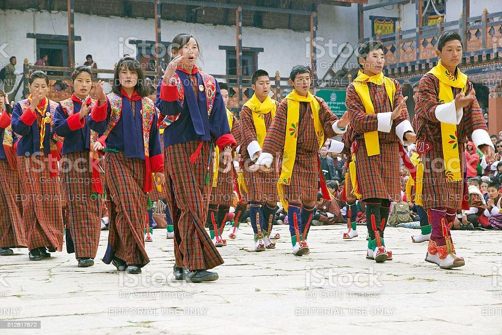 Dancers at the Gangtey Monastery, Gangteng, Bhutan stock photo