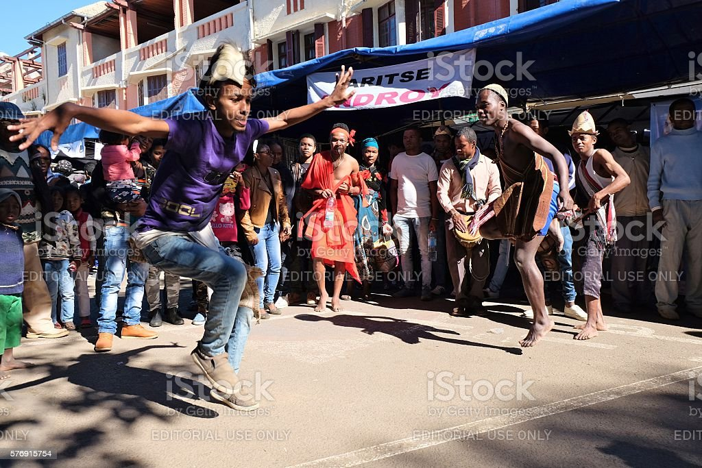 Dancers at the Madagascar Carnival stock photo