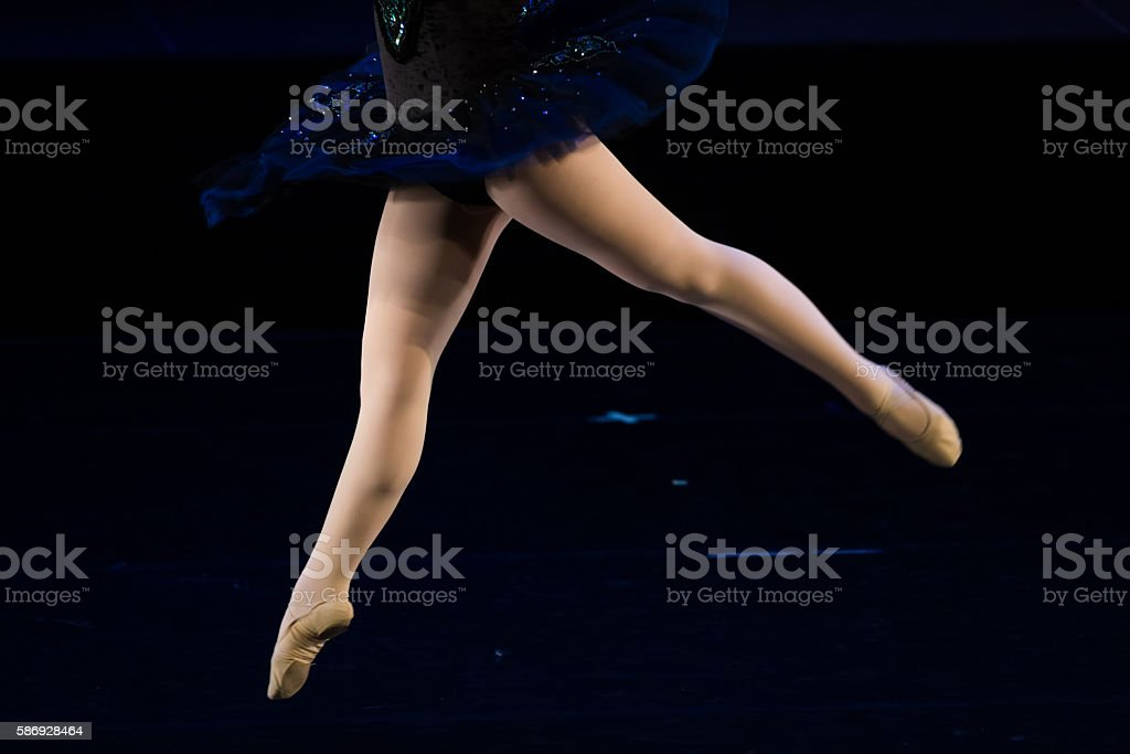 Dancers during ballet performances.Legs only. stock photo
