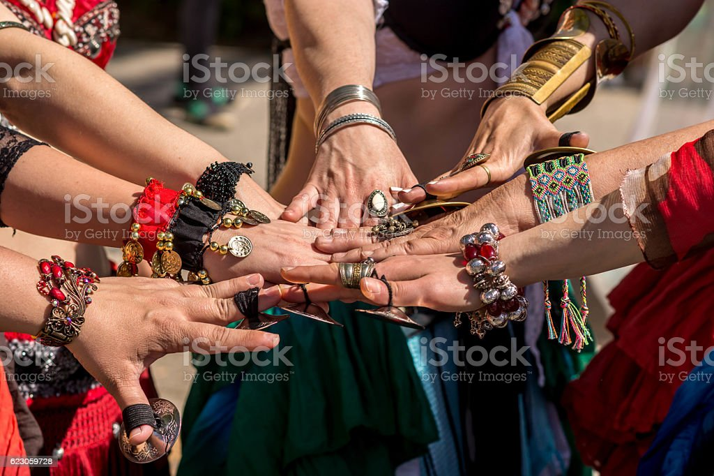 Dancers hands together stock photo