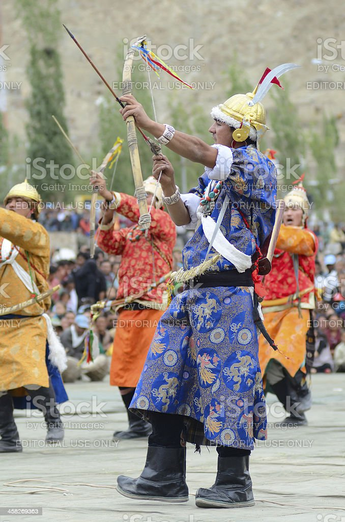 Dancers in historical costumes stock photo