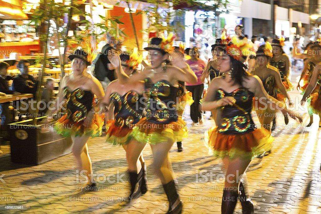 Dancers in Martes de Carnaval, the Mardi Gras Parade Mexico royalty-free stock photo