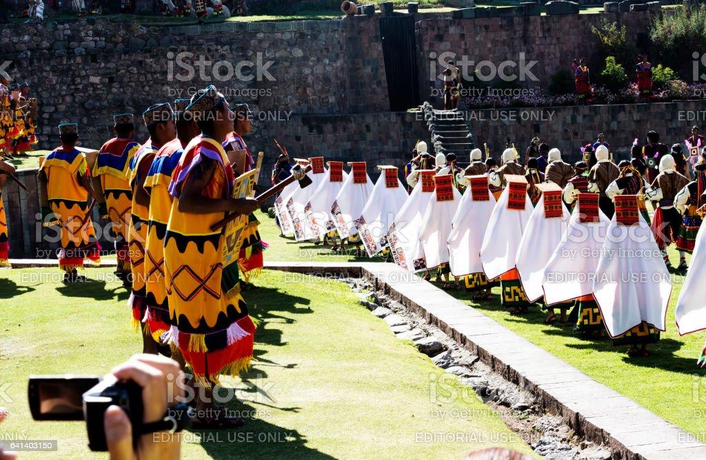 Dancers In Traditional Inca Costume For Inti Raymi Peru stock photo