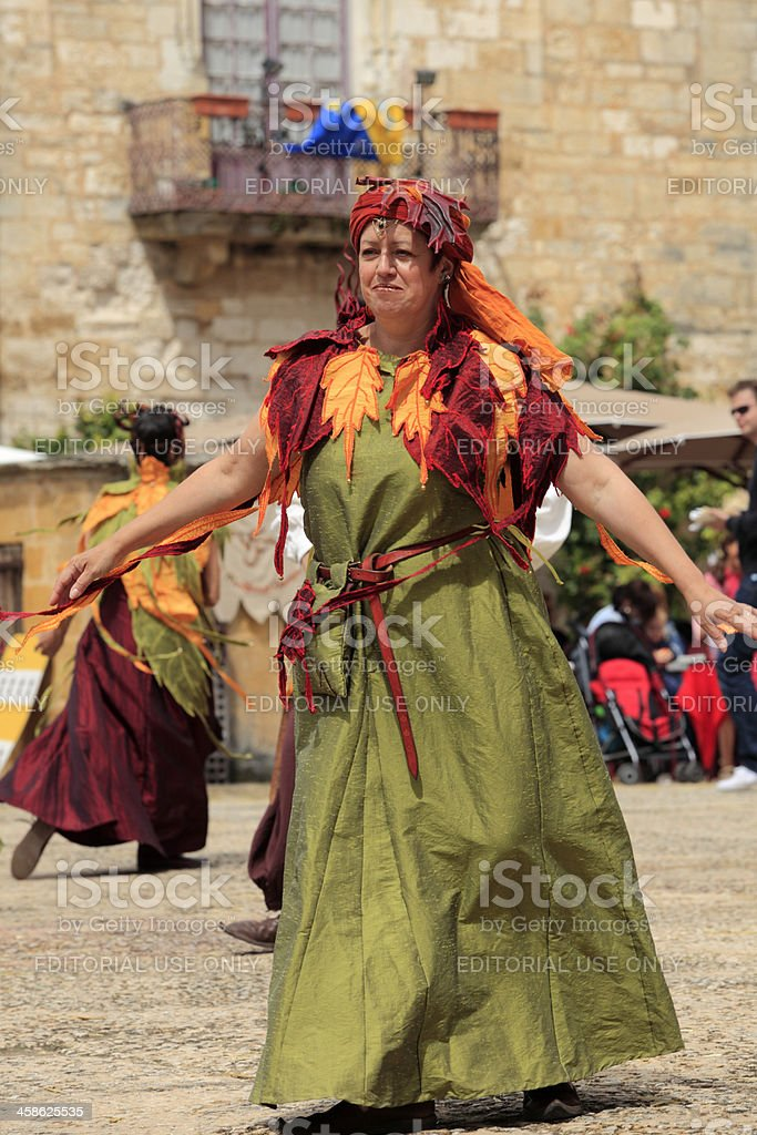 dancers on a medieval festival in Monpazier stock photo
