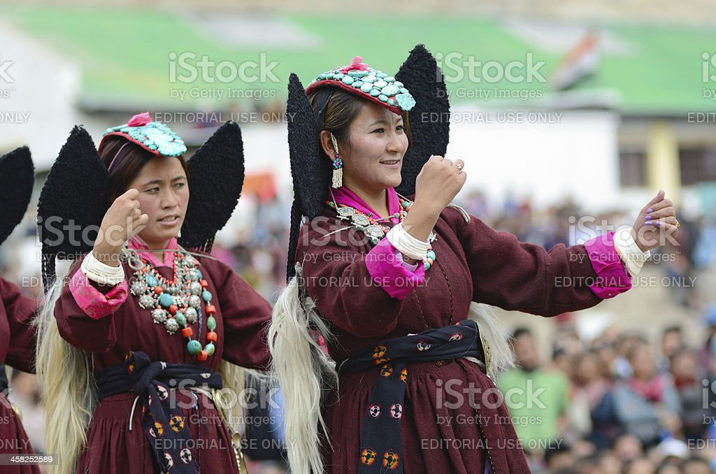 Dancers on Festival of Ladakh Heritage royalty-free stock photo