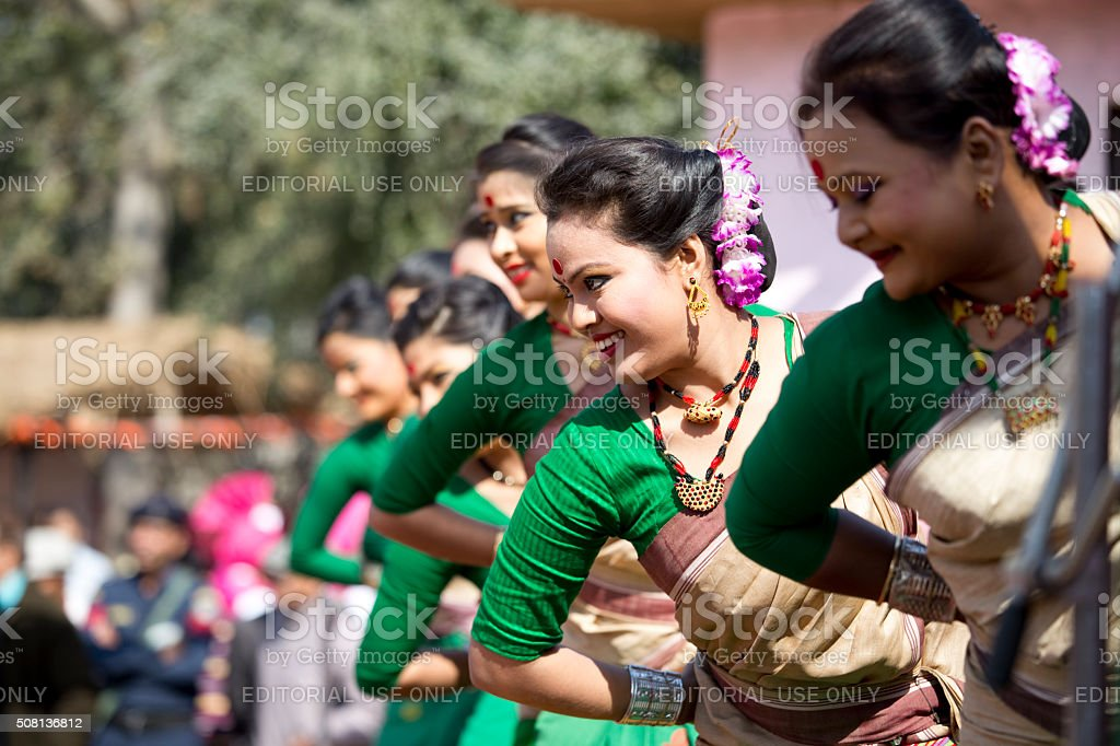 Dancers performing classical dance in fair, Surajkund, Faridabad, Haryana, India stock photo