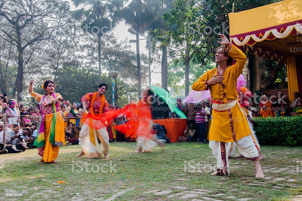 Dancers performing in Holi celebration, India stock photo