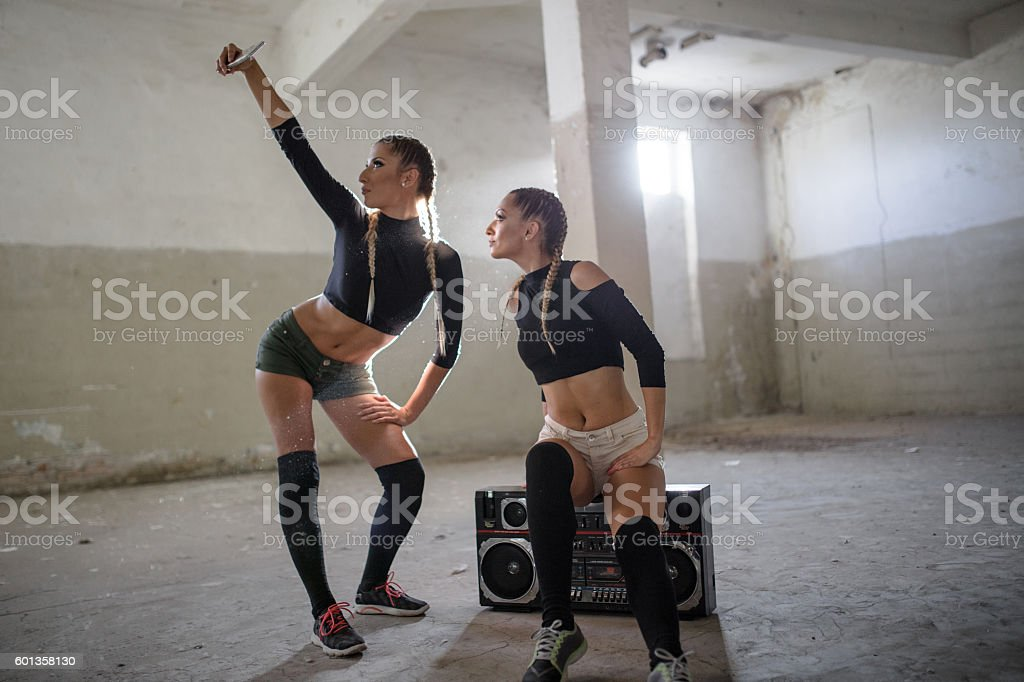 Dancers taking a selfie stock photo