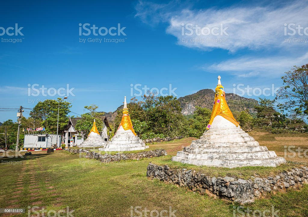 Dan-Chedi di-Sam-ong, Three Pagodas  in Kanchanaburi, Thailand stock photo