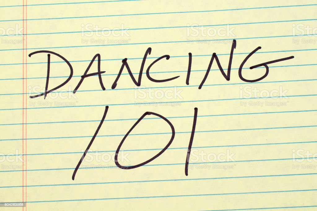 Dancing 101 On A Yellow Legal Pad stock photo