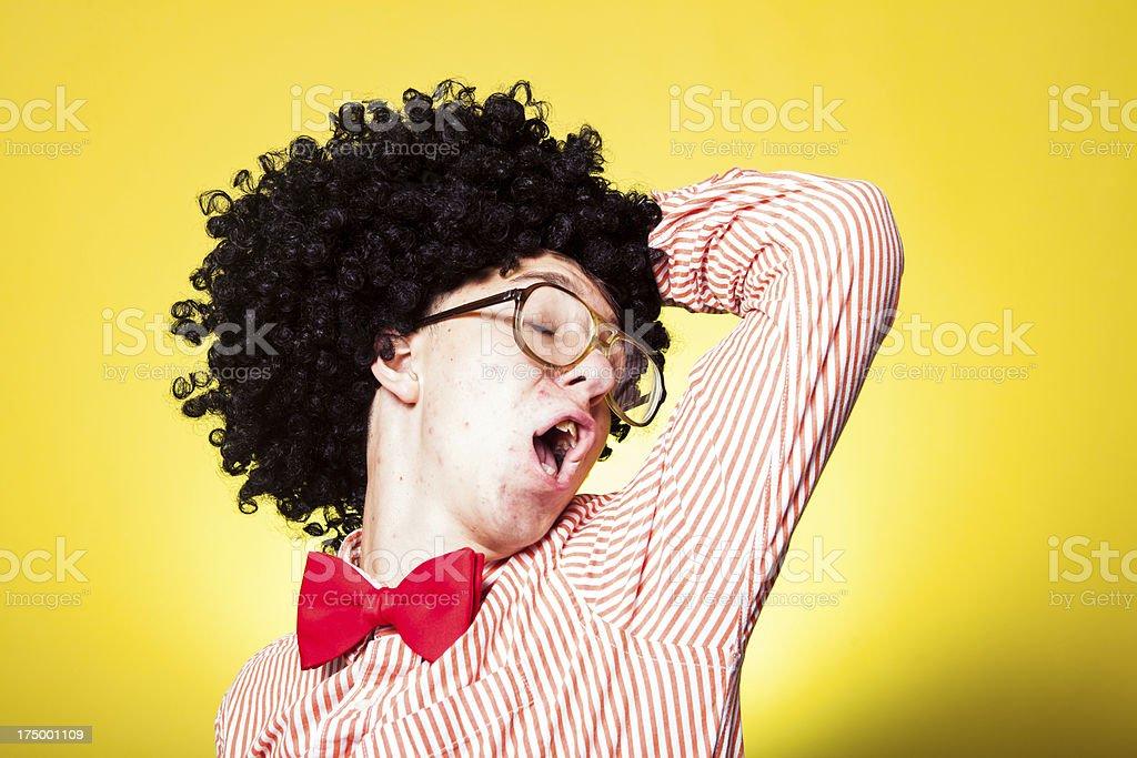 Dancing Afro Nerd Student Portrait stock photo