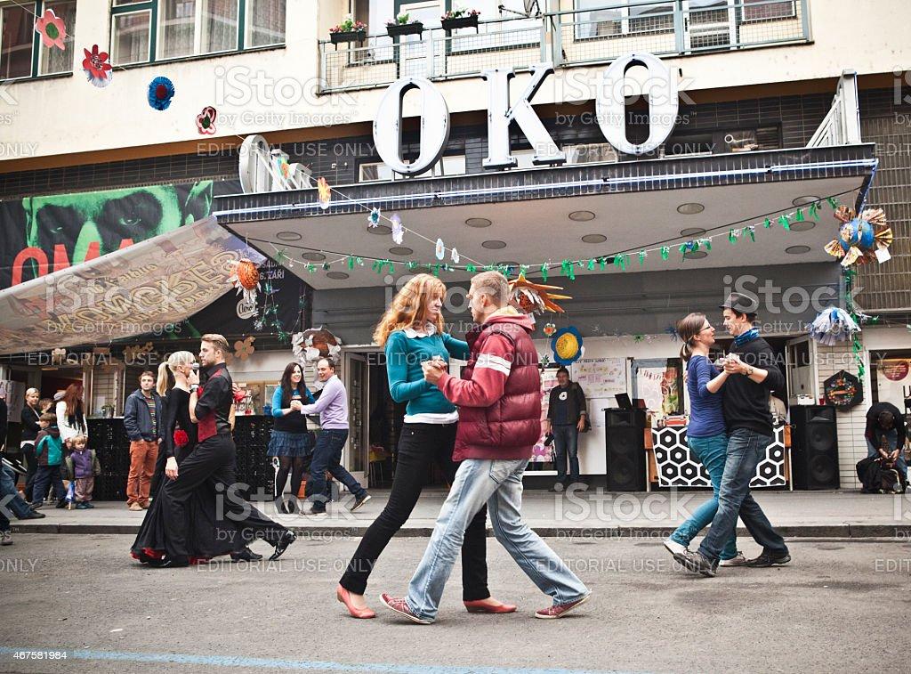 Dancing at street festival in Prague stock photo