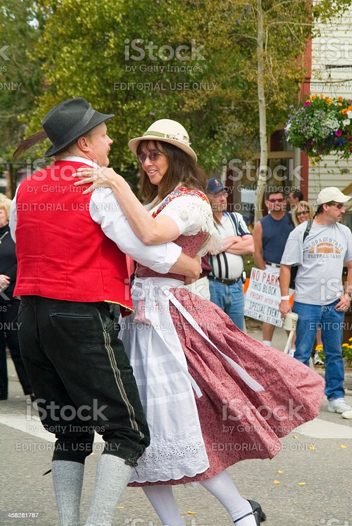 Dancing at the Breckenridge Octoberfest stock photo