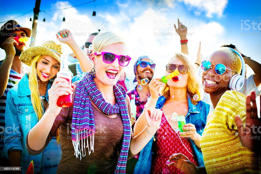 Dancing Beach Summer Happiness Joyful Concept stock photo