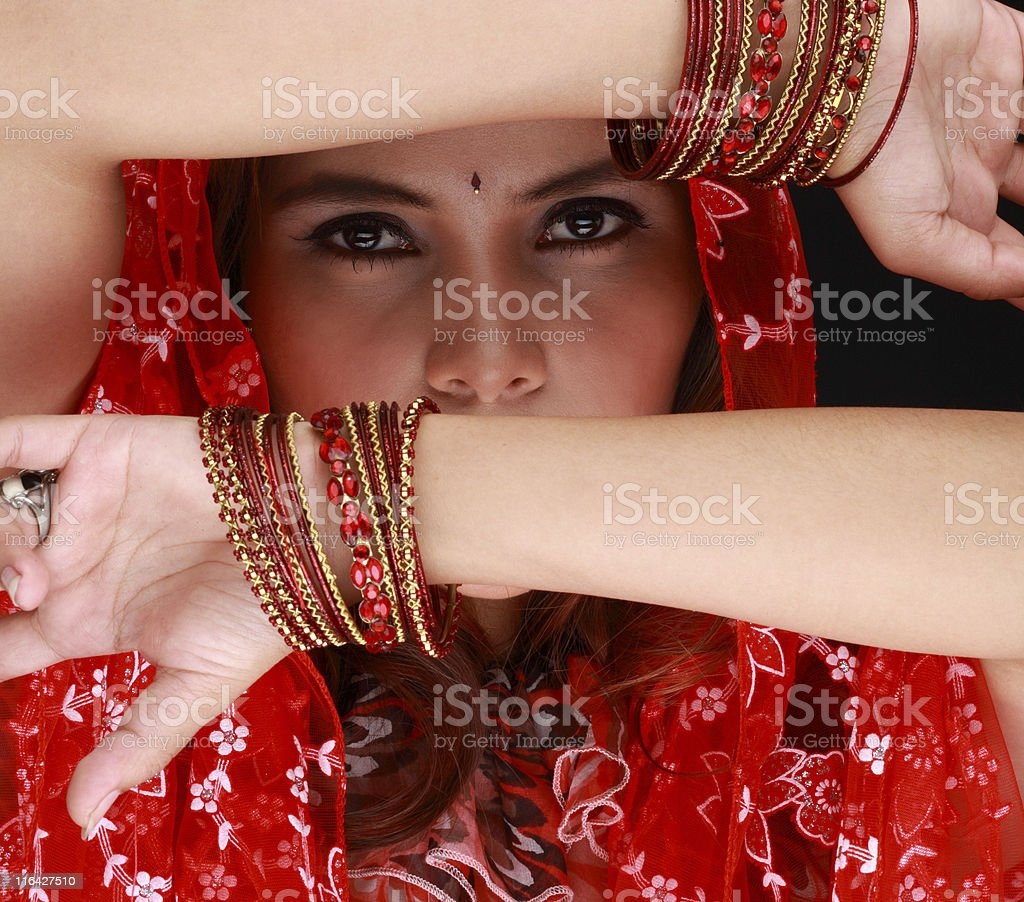 dancing beauty with veil stock photo