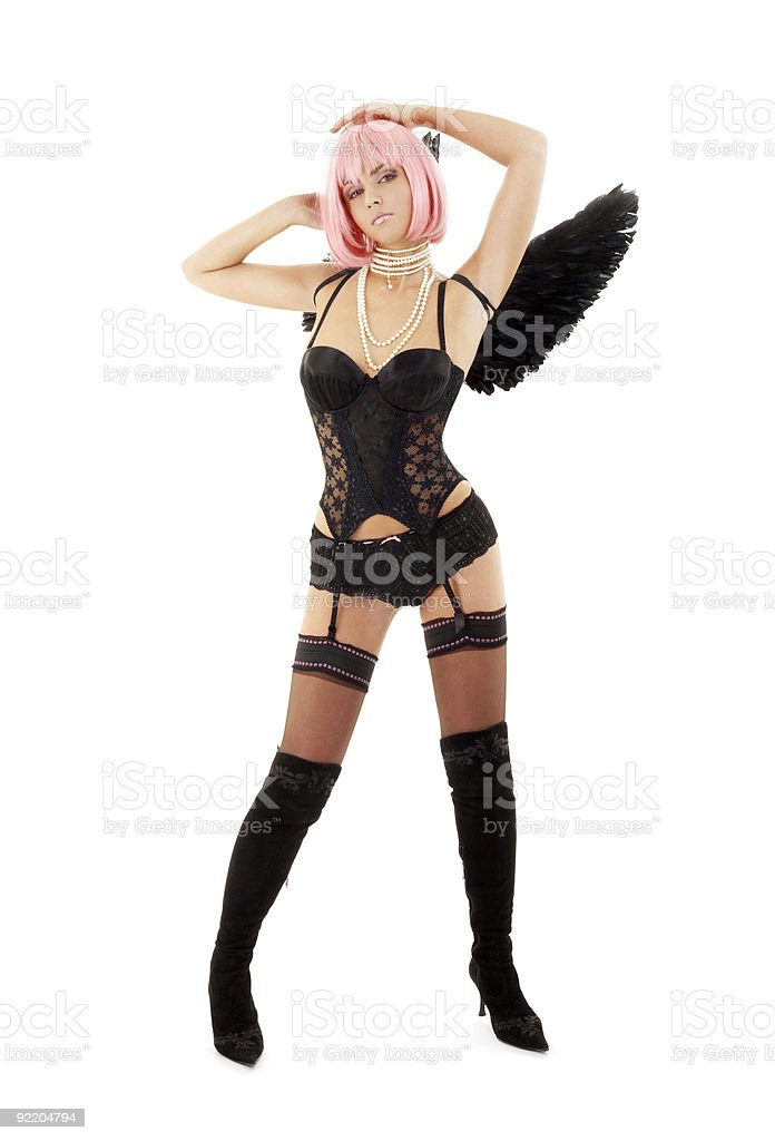 dancing black lingerie angel with pink hair royalty-free stock photo