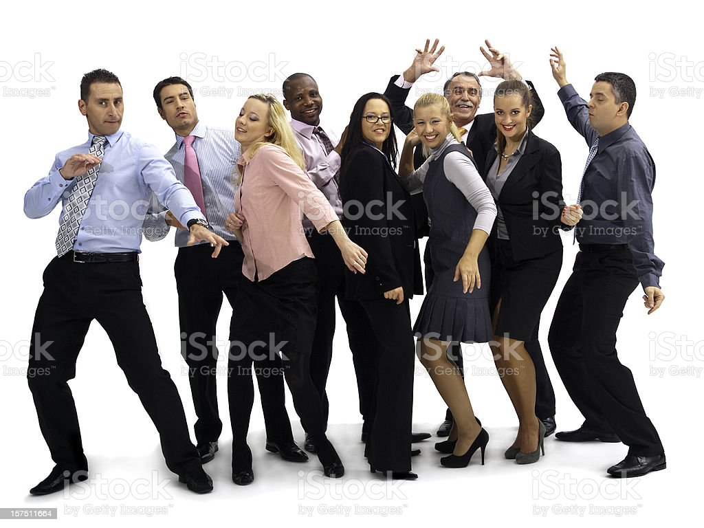 Dancing business group stock photo
