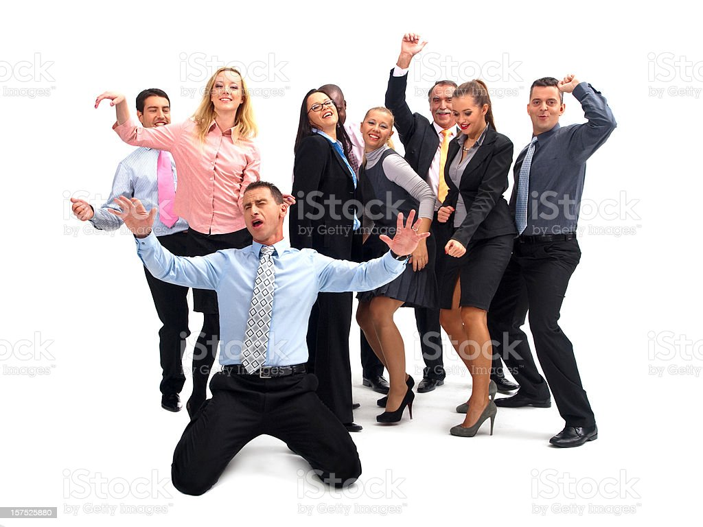 Dancing business group royalty-free stock photo