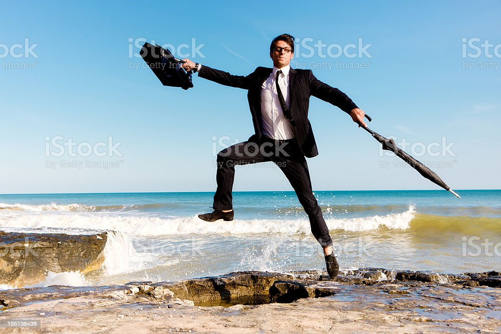 Dancing businessman royalty-free stock photo
