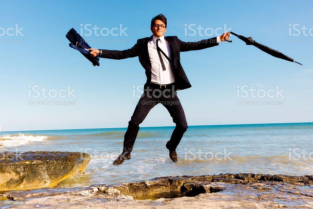 Dancing businessman royalty-free stock photo