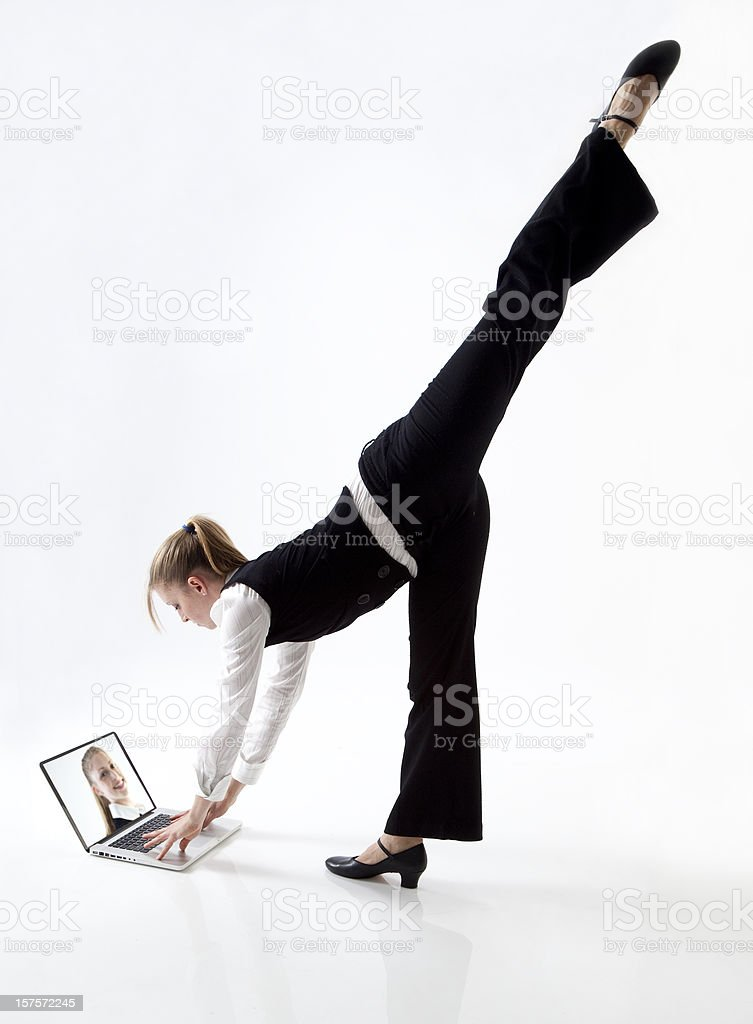 dancing businesswoman stretching royalty-free stock photo