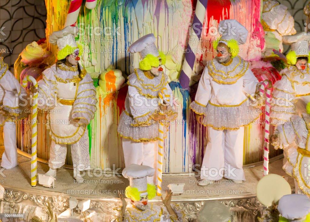 Dancing carnival clowns stock photo