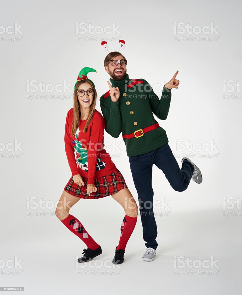 Dancing couple in Christmas time stock photo