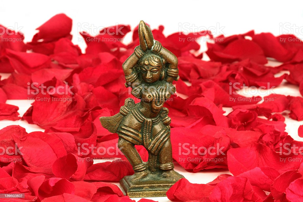 Dancing Devi on red rose petals stock photo