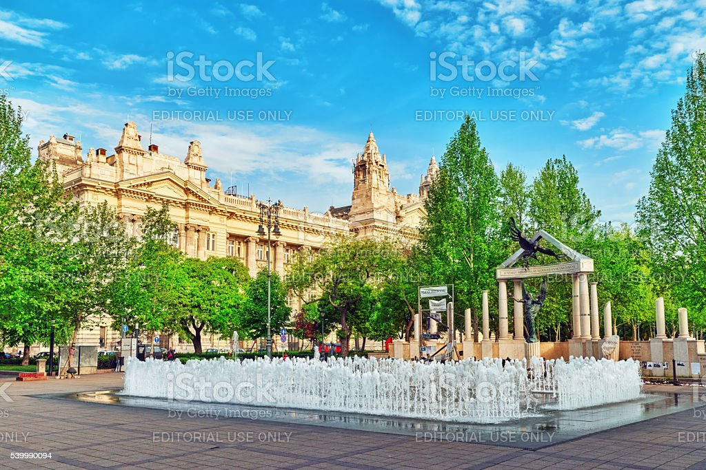 Dancing fountains in Liberty Square in Budapest. stock photo