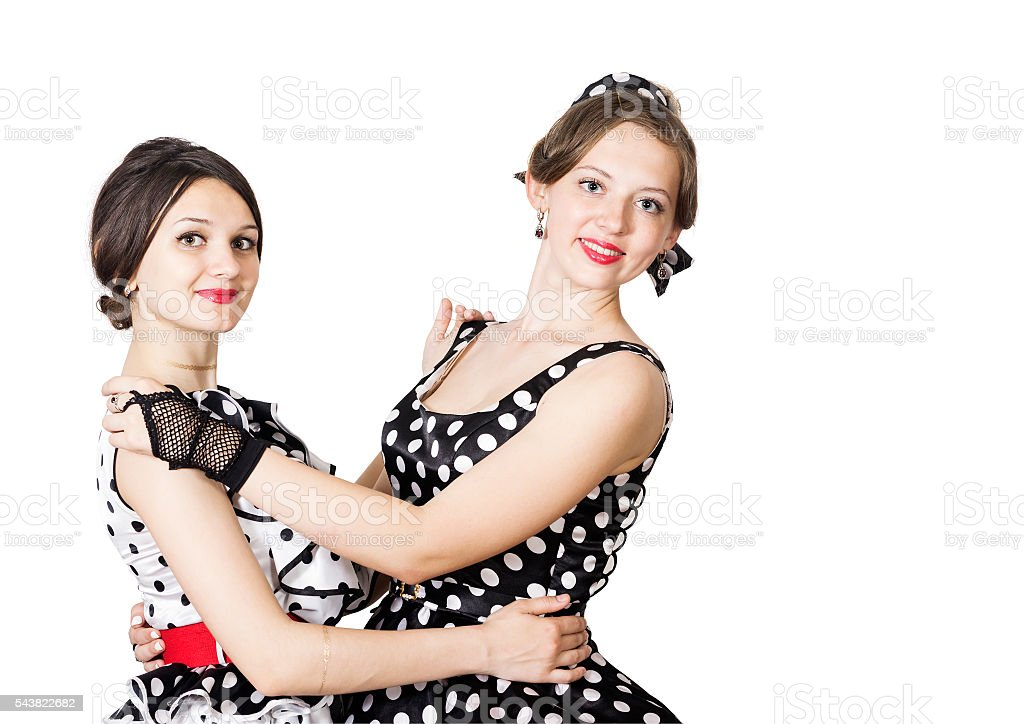 Dancing girl in pin-up style on white background stock photo
