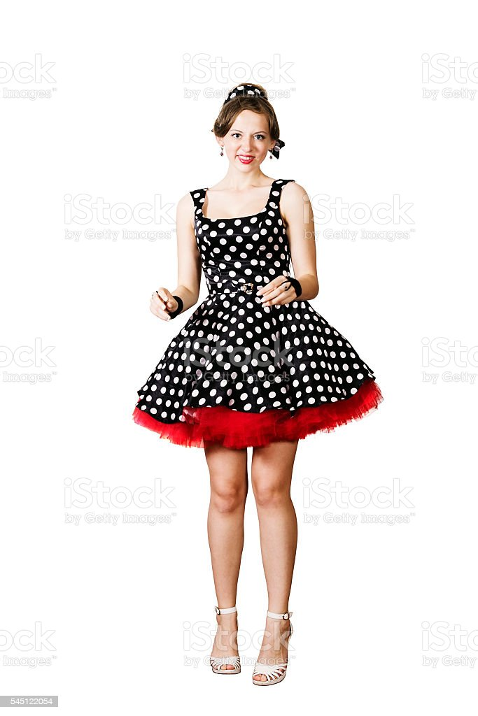 Dancing girl in pin-up style stock photo