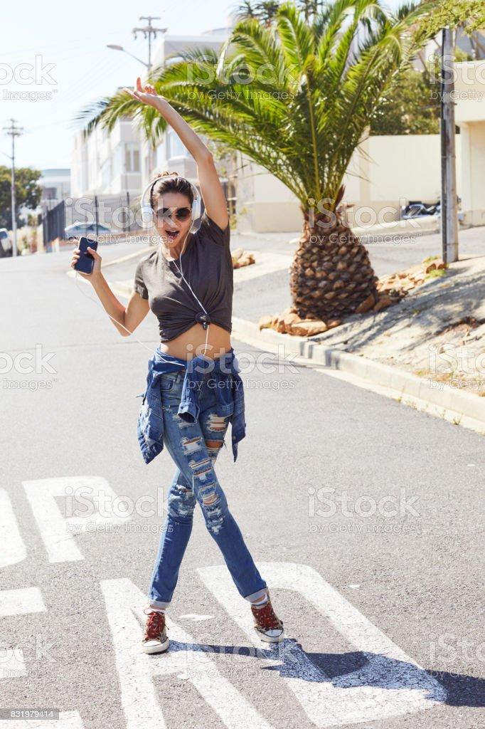 Dancing girl in street stock photo