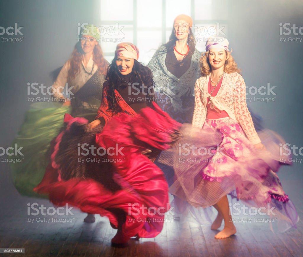 Dancing Gypsies stock photo