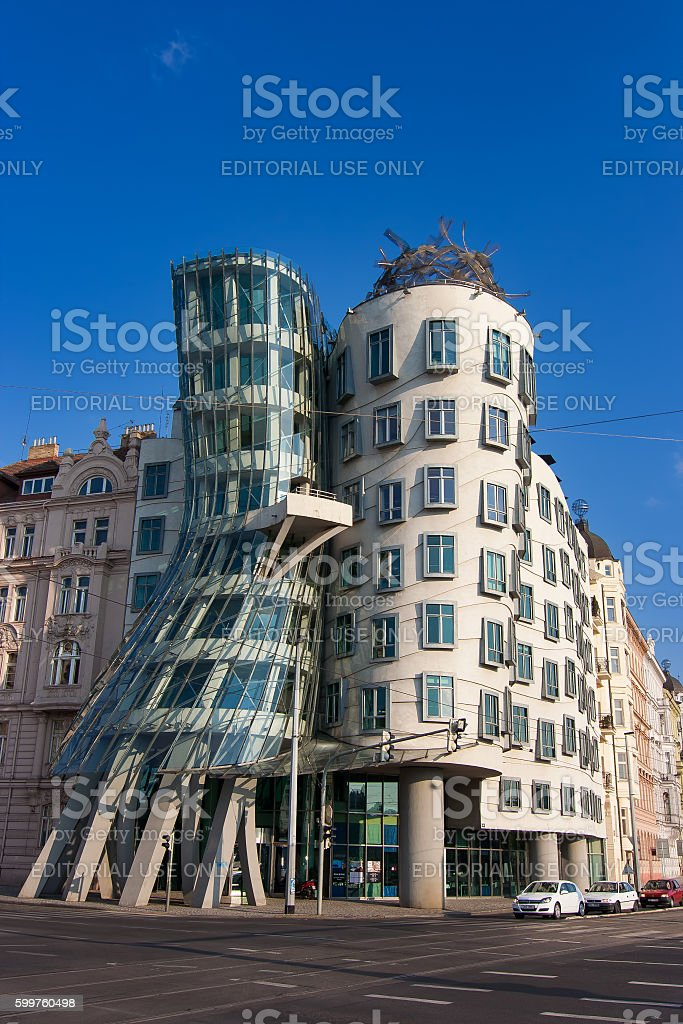Dancing house landmark of Prague Czech Republic. Blue sky backgr stock photo