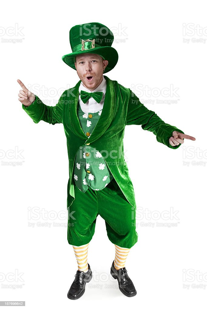 Dancing Howling Leprechaun stock photo