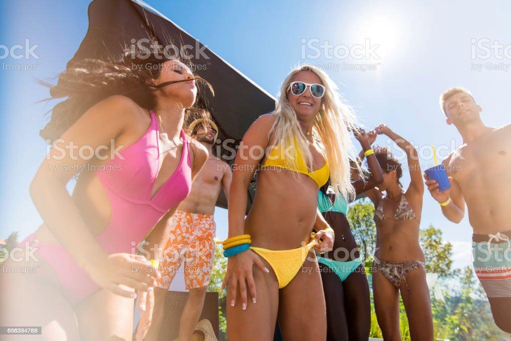 Dancing in bikini stock photo