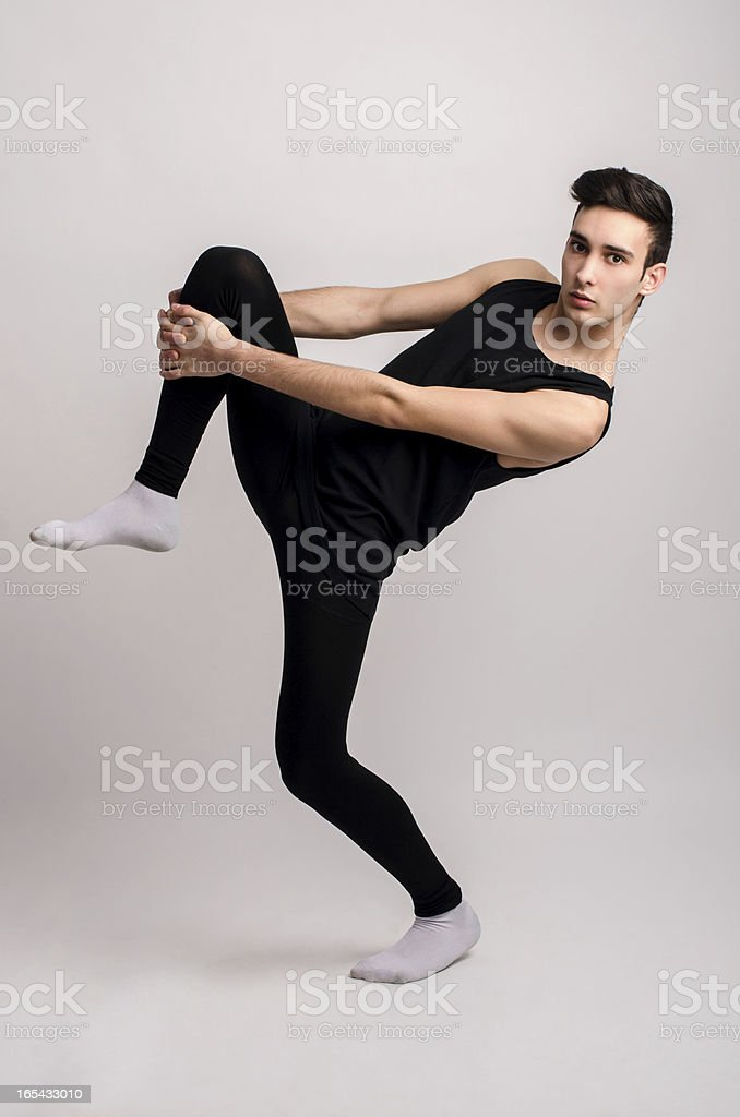 Dancing in black costume. royalty-free stock photo