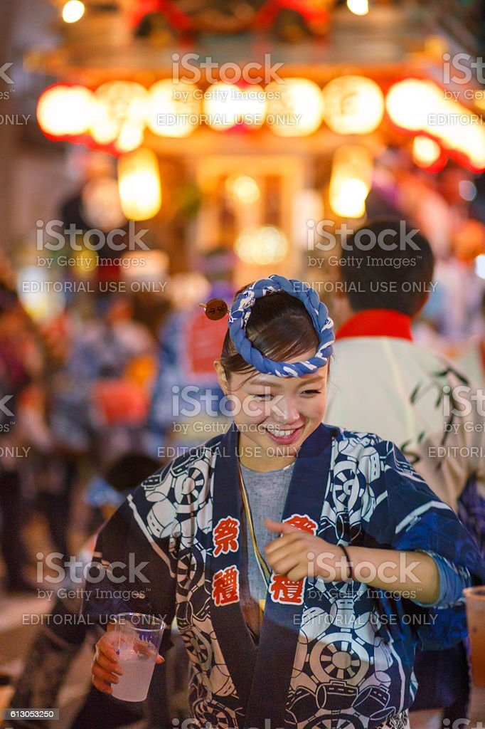 Dancing in front of parade float - Sawara Autumn Festival stock photo