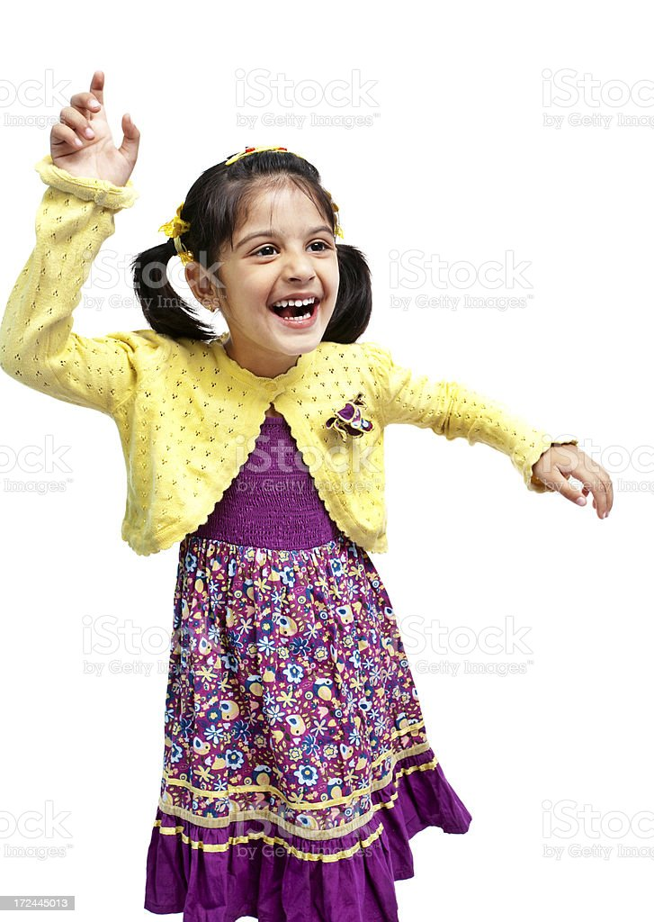Dancing in Joy Cheerful Little Indian Girl Isolated on White royalty-free stock photo