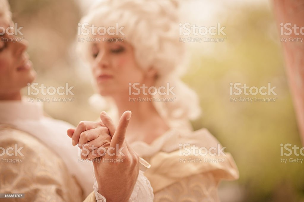 Dancing in  Old French Costumes stock photo
