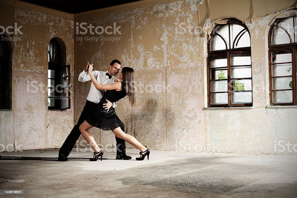 Dancing in old Victorian house stock photo