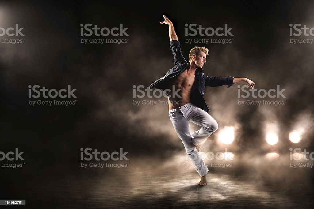 Dancing in the mist. stock photo