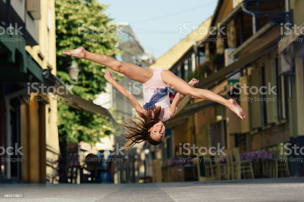 Dancing in the street stock photo